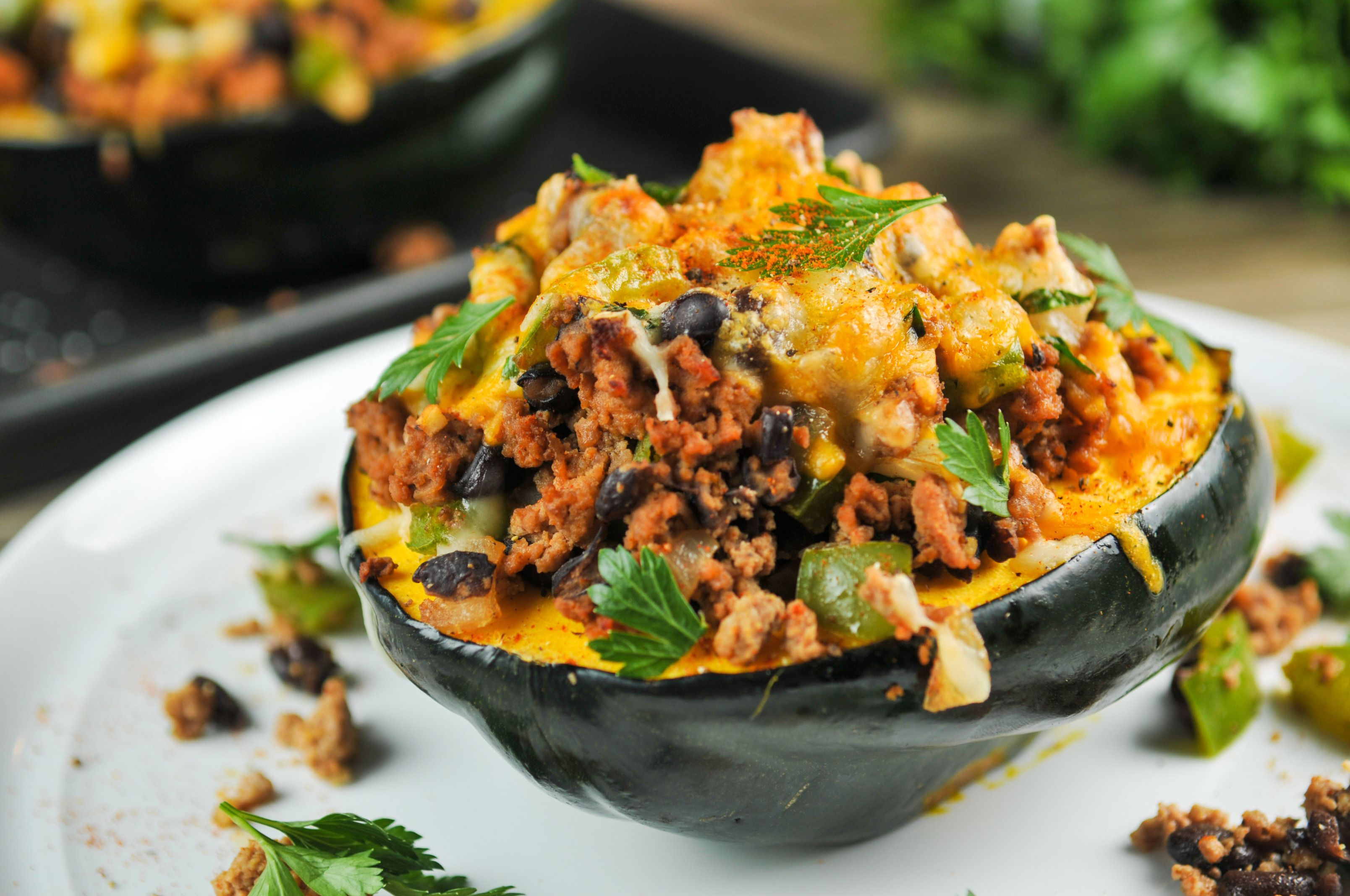 Turkey Stuffed Acorn Squash With Black Beans Southwestern Spices