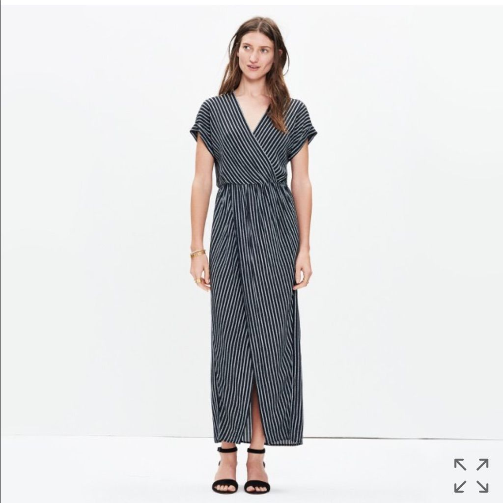 Madewell Wrap Front Maxi Dress In Stripe