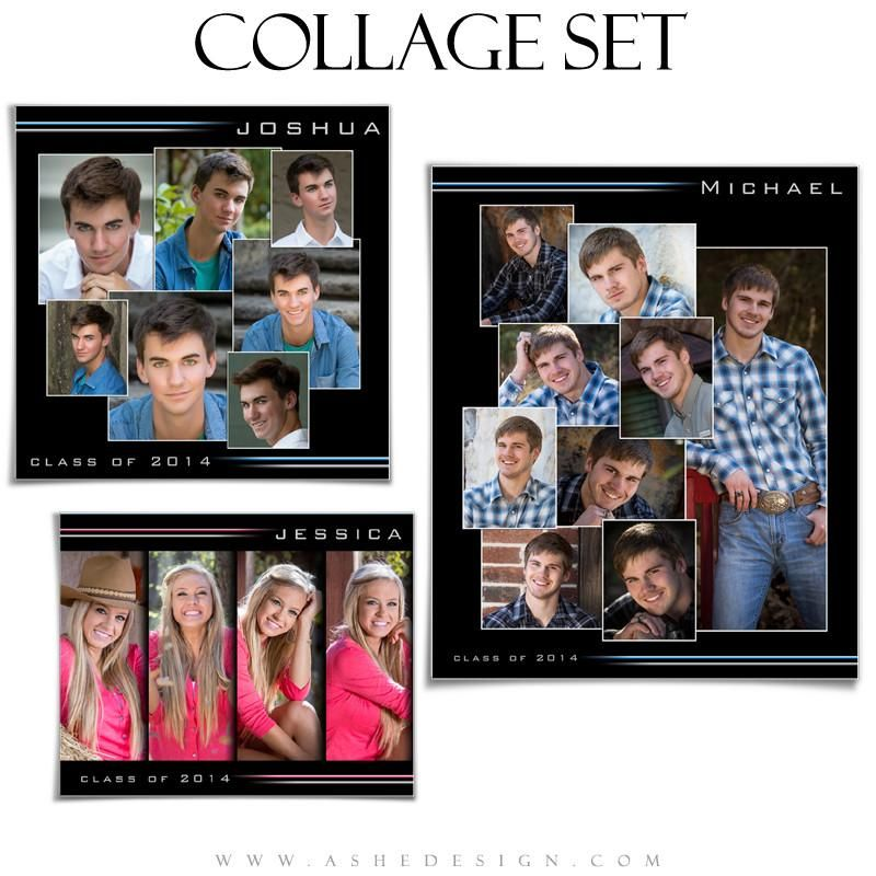 Senior Collage Set 8x10 12x12 20x24 Streak Of Light Senior Pictures Frames Collage Template Photoshop Collage Template