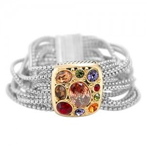 CZ Multi colored stone chain magnetic bracelet