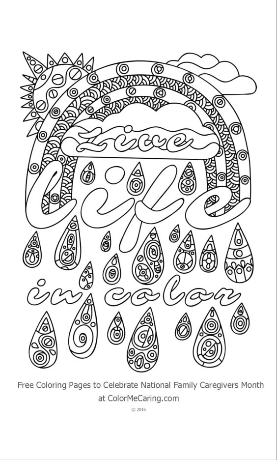 Live Life In Color Free Adult Coloring Page Printable Free