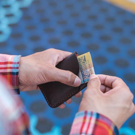 Kangaroo Leather Cardholder - Two Pocket Hand-stitched / Australian made; minimal wallet; monogramme