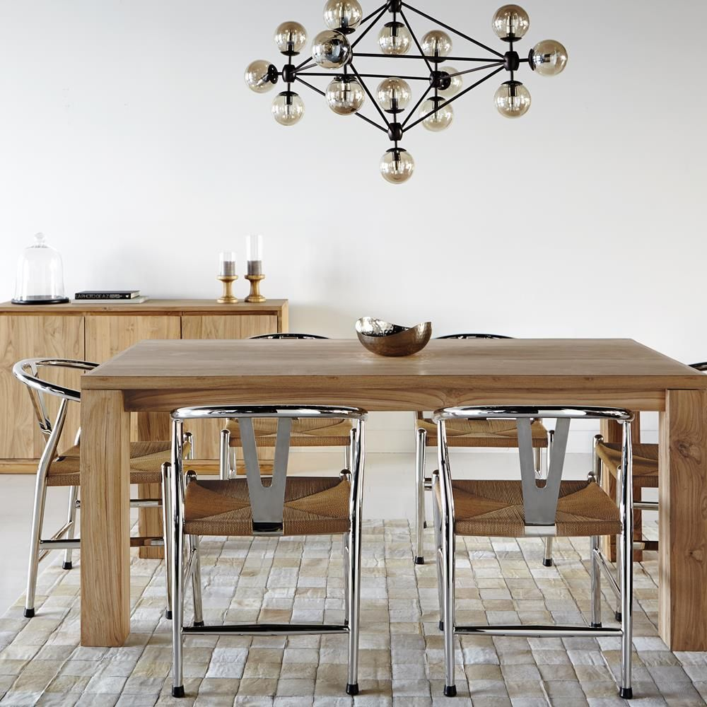 Bouclair Teak Coffee Table: Recycled Teak Wood Dining Table