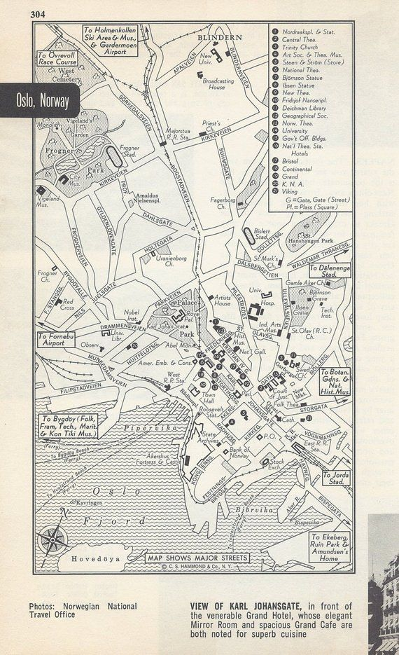 Map Of Europe 1950s.Oslo Norway Map City Map Street Map 1950s Europe Scandinavian