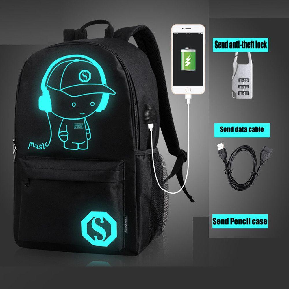 d8db9a0abdee School Bag Unisex Light Preppy Teenagers USB External Charging ...