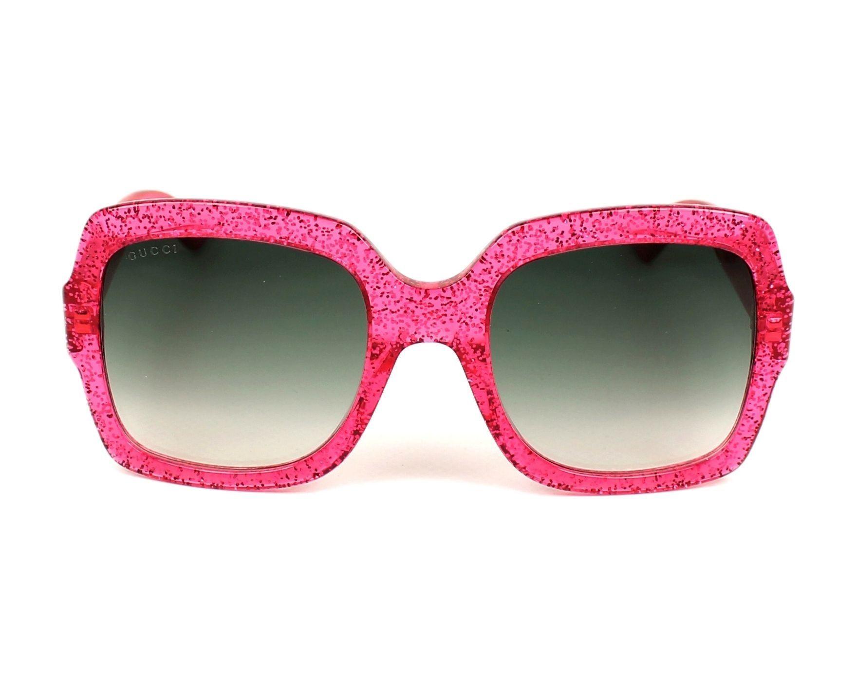 f2e56a3c59 Gucci GG0036S 007 (Glitter Pink fuschia fuchsia with Grey Gradient with  Mirror effect lenses)