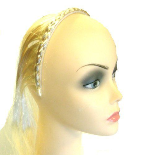 Hair Extensions 24in Blonde by Just Pretending.  3.99. Hair extends from a  braided headband.. Easy to wear. 24 in of silver blonde hair attached to  braid ... dd103282da6