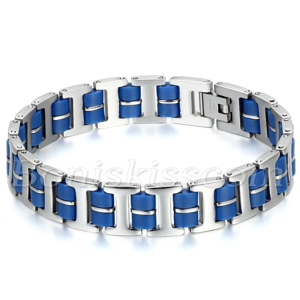Mens Black Silver Stainless Steel Rubber Biker Bracelet Bangle Chain Jewelry