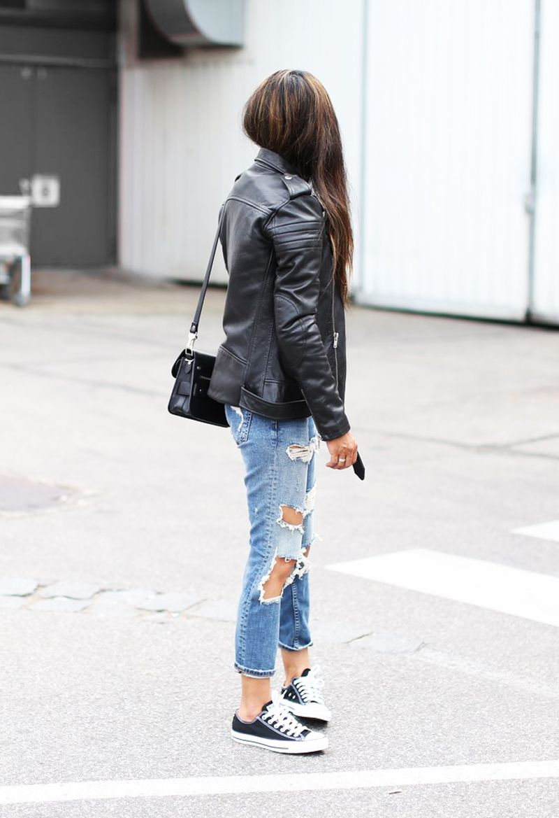 The Biker Jacket Ripped Jeans And Converse Sneakers Remains In