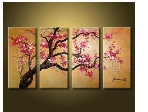Huge Impressional Modern Art Cherry Blossom Oil Painting On Canvas No Frame 45 00 Triptych Wall Art Cherry Blossom Painting Canvas Painting