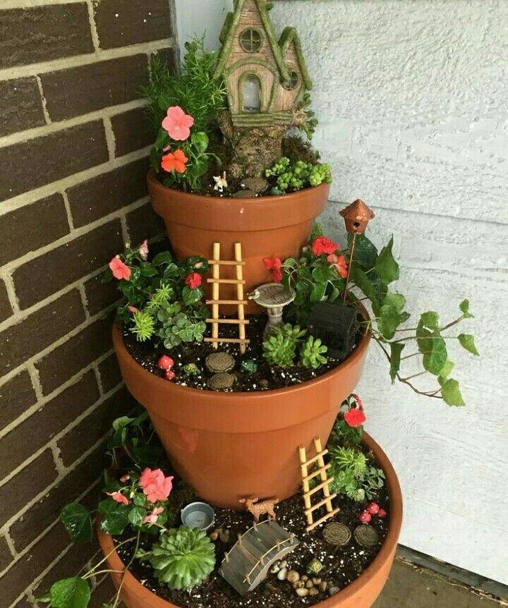 3 pots on porch garden - Diy Fairy Garden Ideas