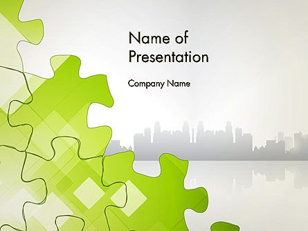 Puzzle Pieces On City Background Powerpoint Template  Vicky