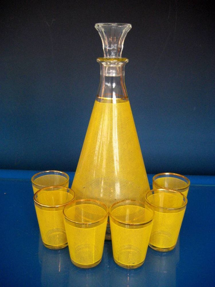 Vintage 50s 60s Retro French Glass Yellow Decanter Cocktail Liquor Set Drinks