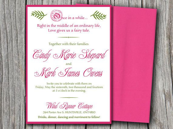 Fairytale Wedding Invitation Microsoft Word Template | Watermelon Pink  Green | 5x7 Wedding Invitation Printable |  Microsoft Word Templates Invitations