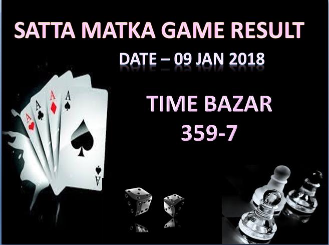 Date - 09 Jan 2018 #satta #matka TIME BAZAR Open result