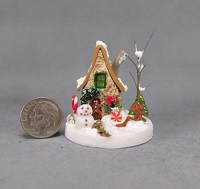 SWEET-Handcrafted-Miniature-Stone-Christmas-Fairy-House-OOAK-by-O-039-Dare
