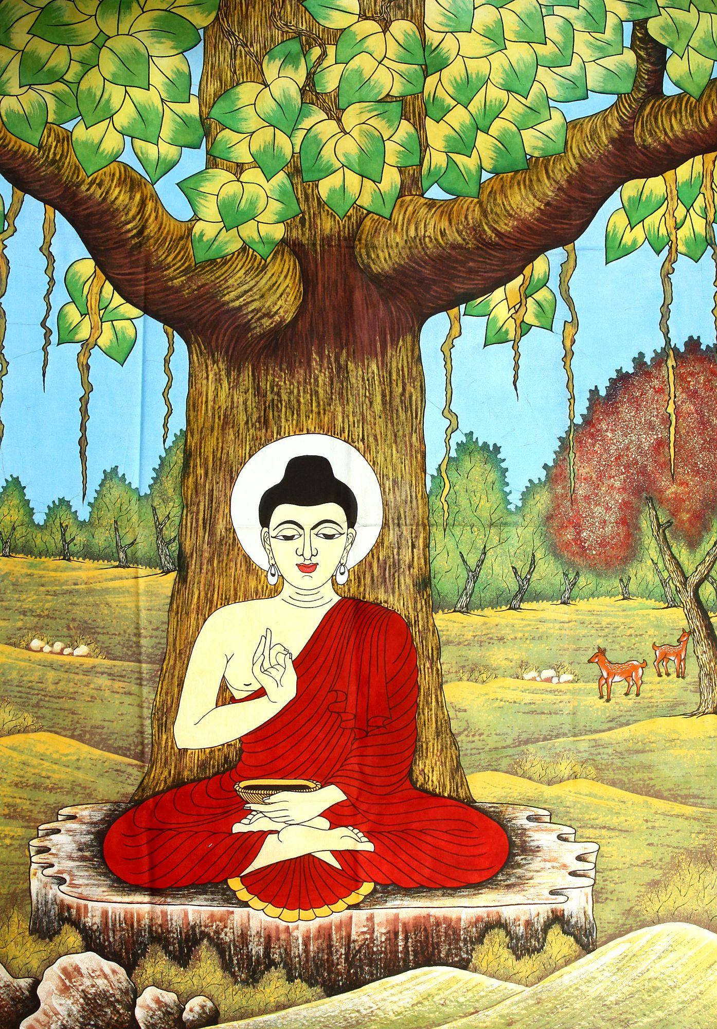 Buddha Meditating Under The Bodhi Tree
