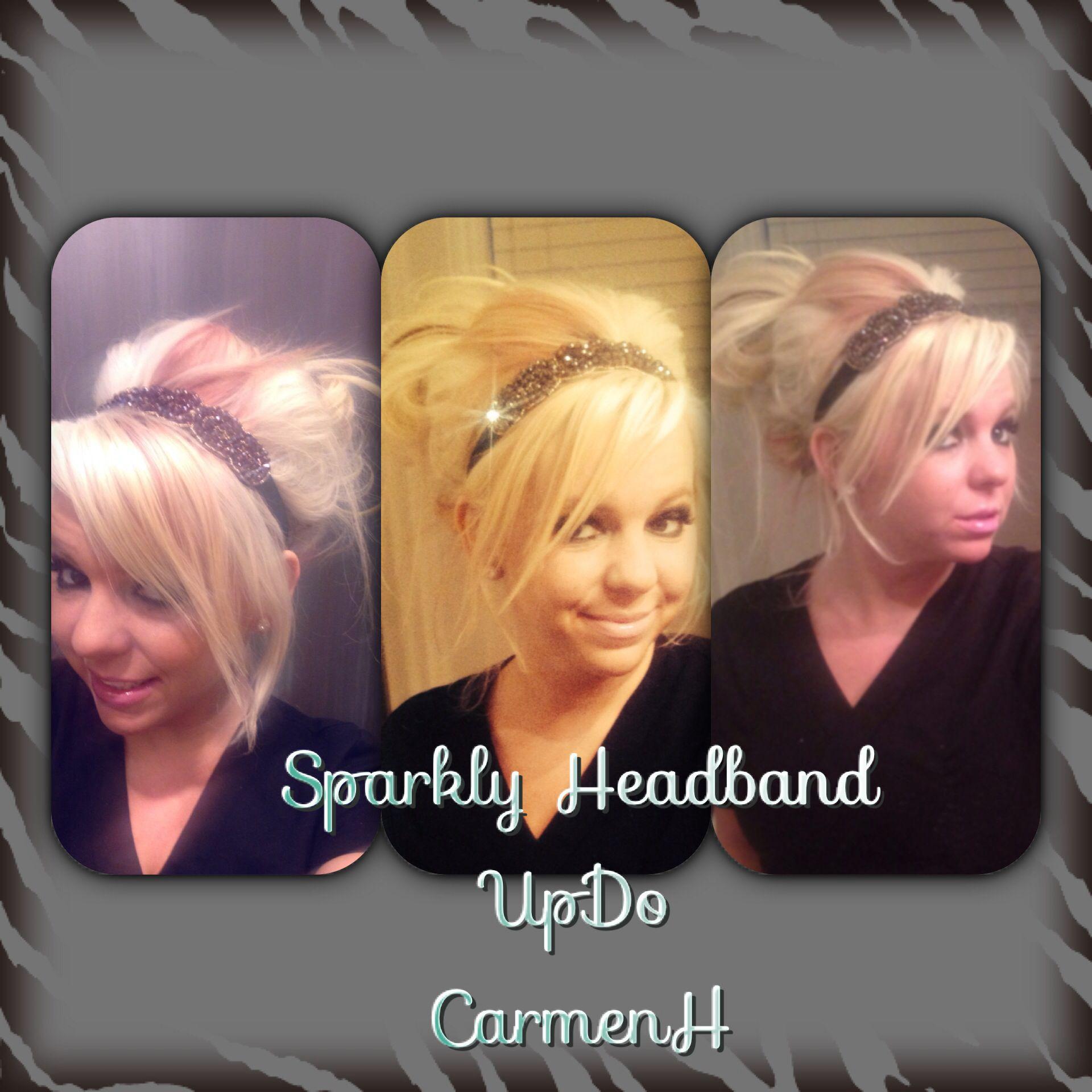 sparkly headband updo .. great for dental assisting , nursing