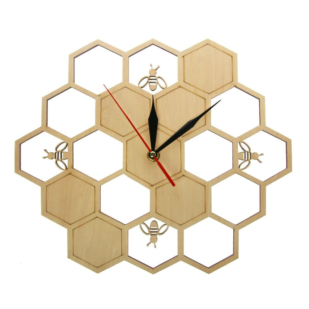 Bees and honeycomb natural wooden wall clock hexagon wall art wood bee honey contemporary clock watch home living room decor review