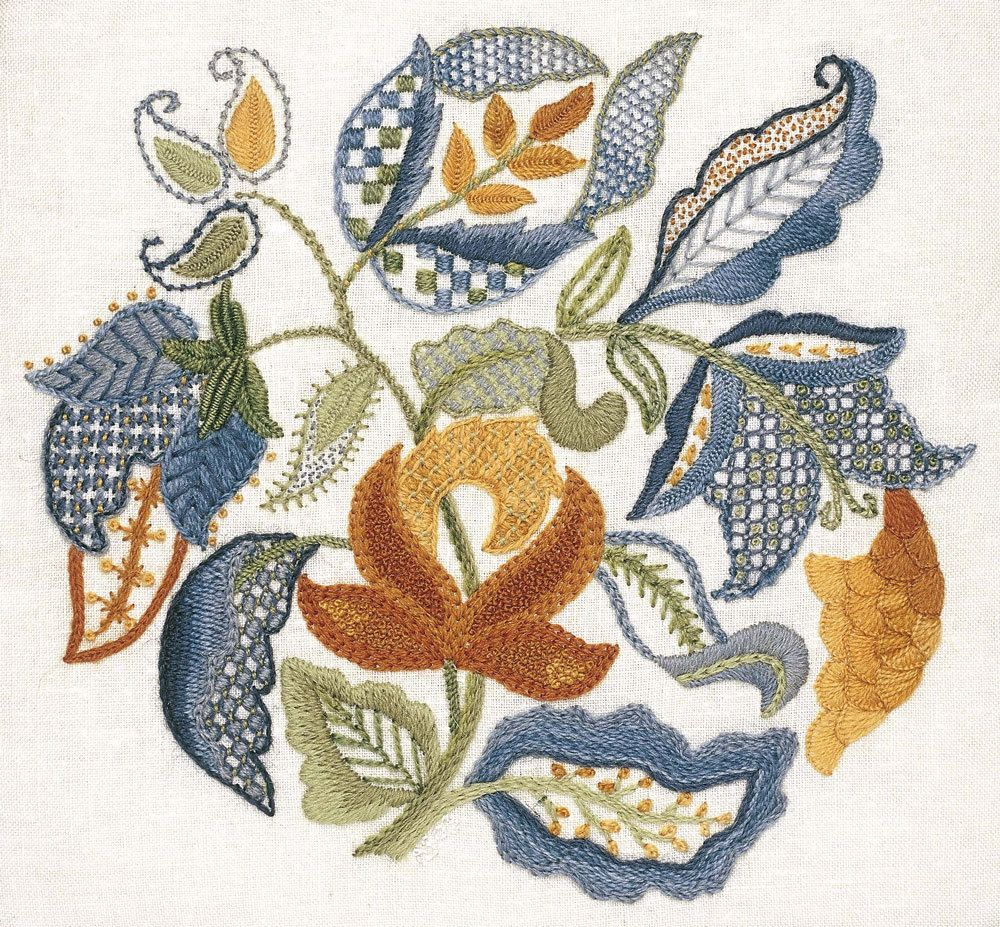 Crewel Embroidery Kit - JACOBEAN LEAVES by AnnaScottEmbroidery on Etsy https://www.etsy.com/listing/156518446/crewel-embroidery-kit-jacobean-leaves