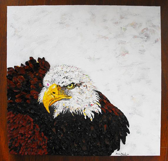 """Allure of the Feather"" Original 24x24 American Bald Eagle Acrylic Painting by Brianna"