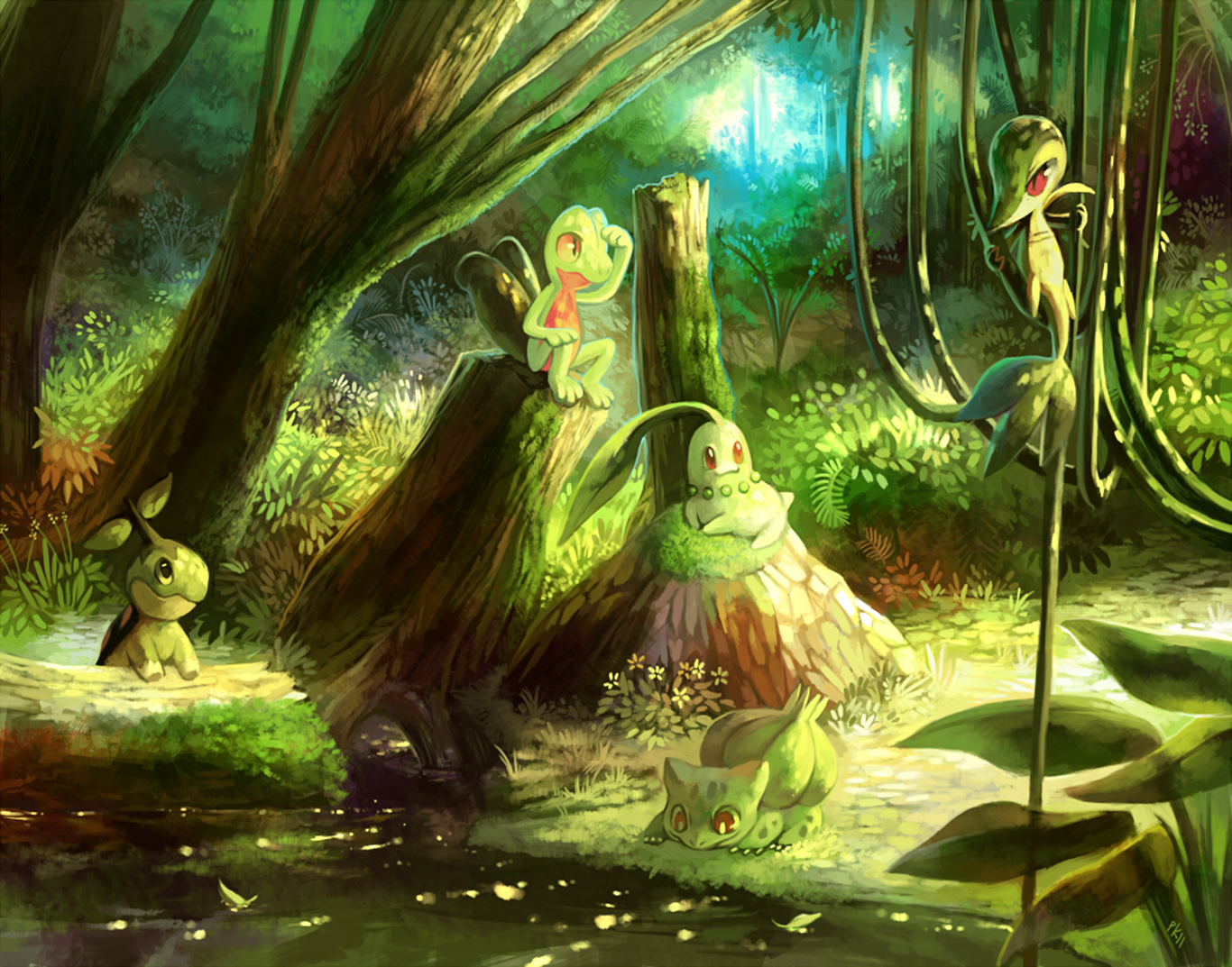 Anime Pokemon Pokémon Grass Pokémon Treecko Chikorita Snivy Turtwig Bulbasaur Starter Pokemon Wallpaper