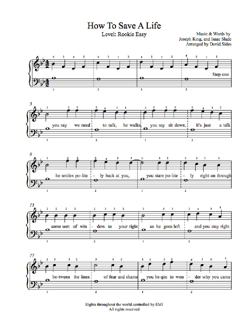 How to Save a Life by The Fray Piano Sheet Music : Rookie Level : Playground Rookie Sheet Music ...
