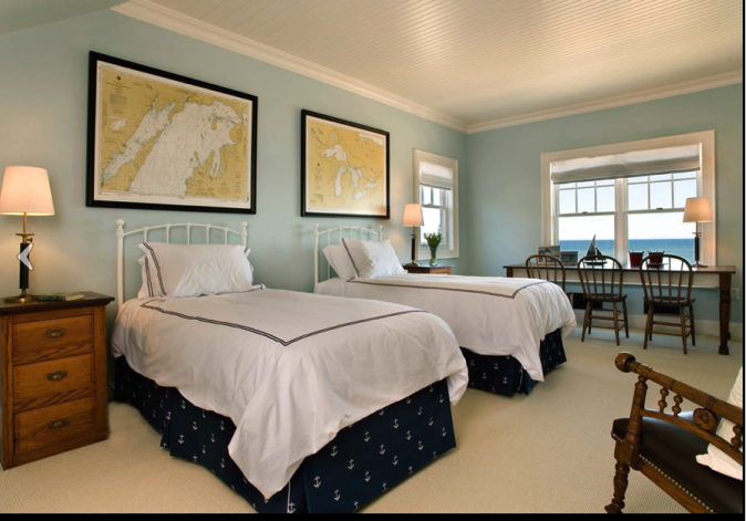 twin beds with framed charts