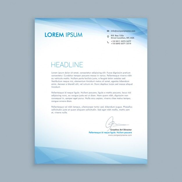 business letter with blue shapes vector free download computerized - letterheads templates free download