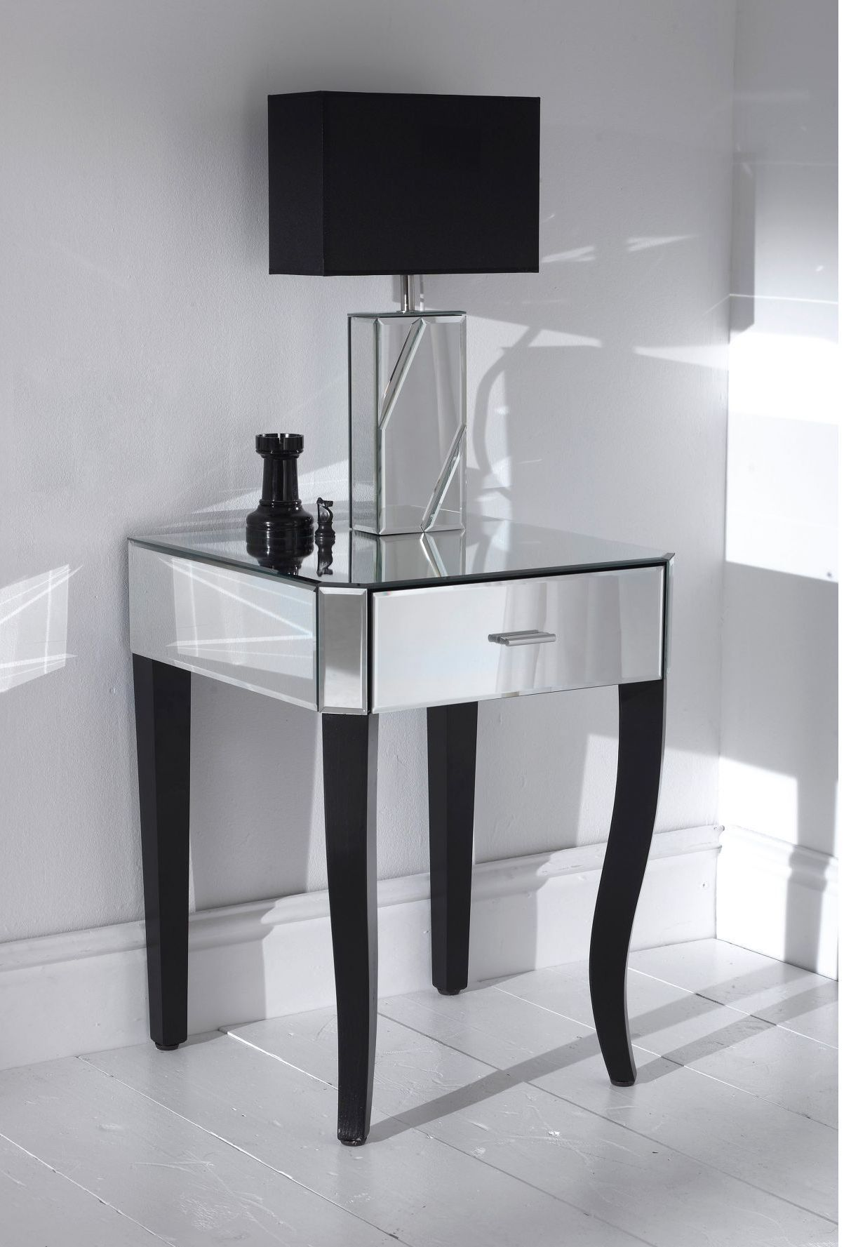 Contemporary Mirrored bedside table | Mirrored side tables ...
