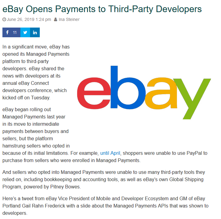 Ebay Opens Payments To Third Party Developers Development Third Party Ebay