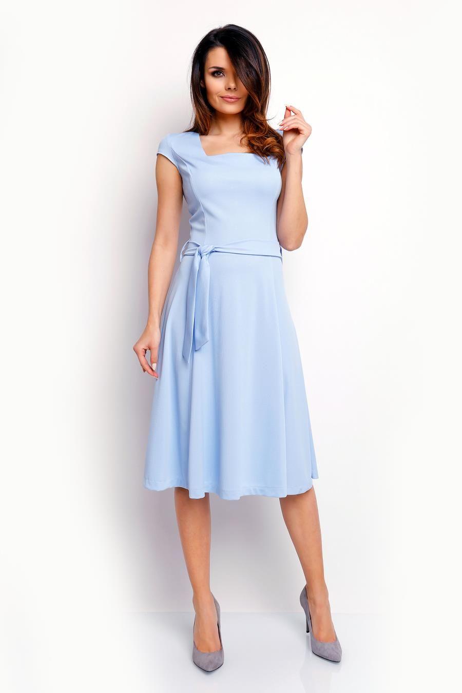 Midi Sukienka Z Paskiem I Dekoltem Karo Blekitna Na401 Beautiful Dresses Dresses Fashion