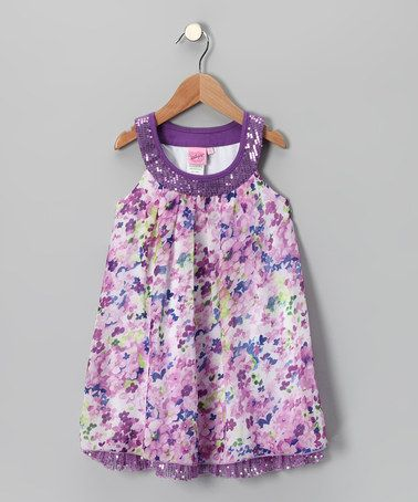 Take a look at this Purple Floral Yoke Dress - Girls by Lipstik Girls on #zulily today!