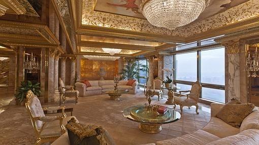 Salón de su la casa de Trump en Nueva York.   Donald Trump ...
