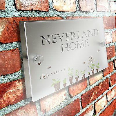 House Sign Door Number Street Address Plaque Matte Glass Effect