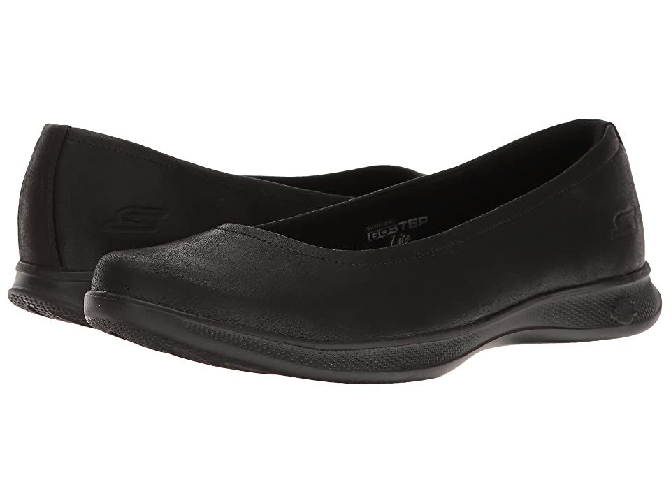 SKECHERS Performance Go Step Lite - Mystic (Black) Women's Shoes. Be free and easy this season with the Go Step Lite - Mystic. Synthetic leather upper. Slip-on style with a cushioned collar. Soft textile lining. Goga Max footbed technology. Lightweight injection-molded Resalyte midsole features memory retention that absorbs impacting shock. High-rebound SQUISH cushioning supplies responsive feedback. Cooling tricot weave mesh  #SKECHERSPerformance #Shoes #Athletic #GeneralAthletic #Black