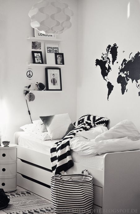 Black And White Room Basket And Rug Bedrooms Bedroom Room