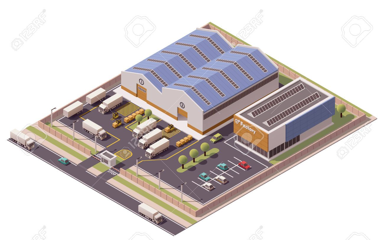 Vector Isometric Factory Buildings Icon Building Icon Isometric Isometric Design