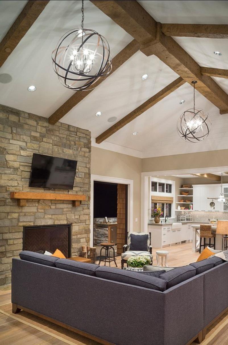 45 Stunning Slanted Ceiling Living Room Ideas Decorecent Vaulted Ceiling Lighting Living Room Lighting Living Room Ceiling