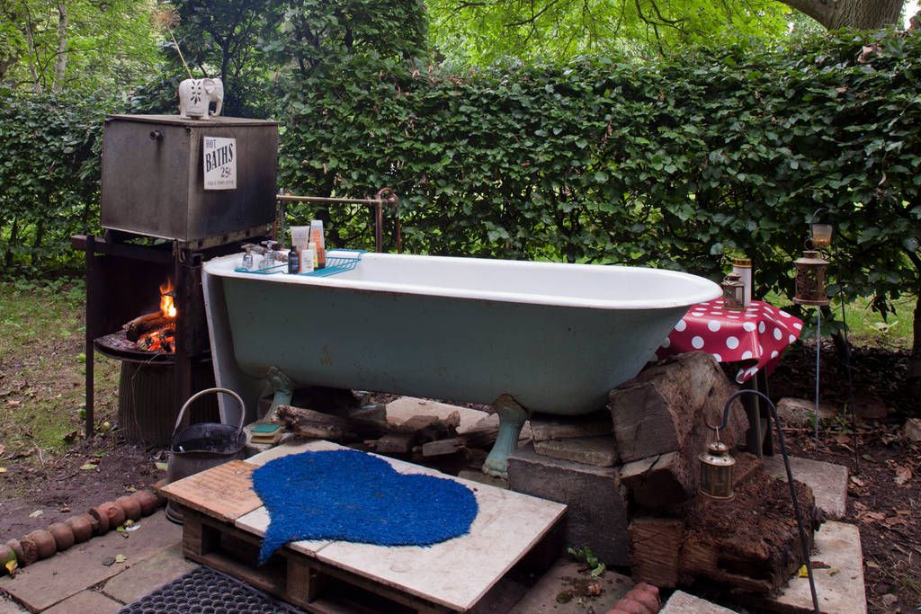 secluded area nearby heated with a wood burning 'rocket stove. Outdoor ... - Wood-fired Hot Tub Bohemian Floor Space Pinterest Posts