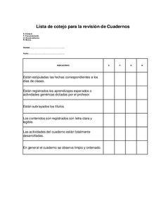 Lista de cotejo para la revisión de cuadernos | listas de cotejo ...