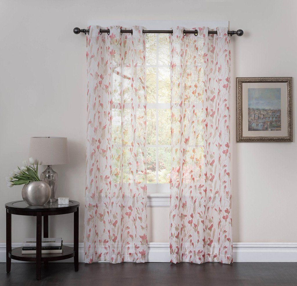 Amazon Com Studio 1012 Window Curtains Set Of Two Sheer Floral