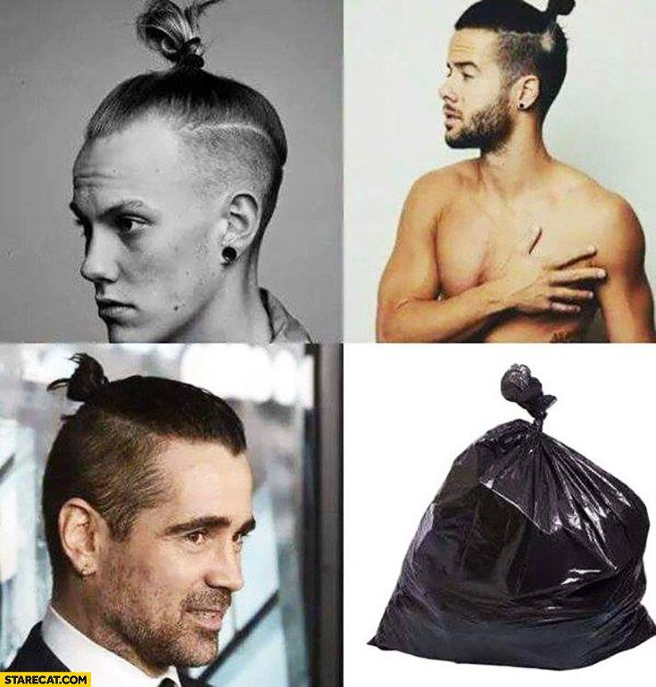 Man Bun Top Knot Looking Like Bin Bag Trash Colin Farrell Funny