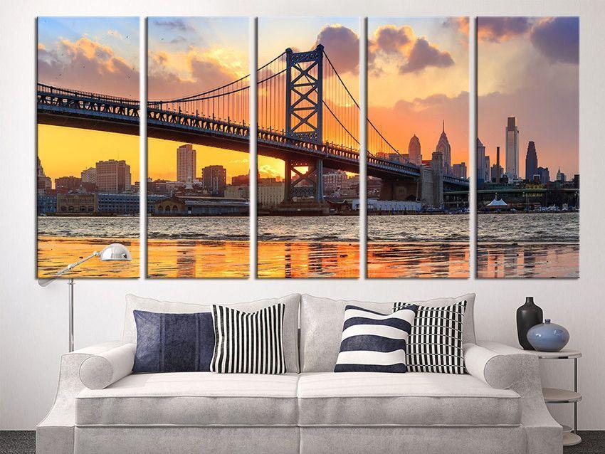 Large Wall Art Canvas Print, Philadelphia Ben Franklin Bridge Skyline  Canvas Art Print, Extra Part 71