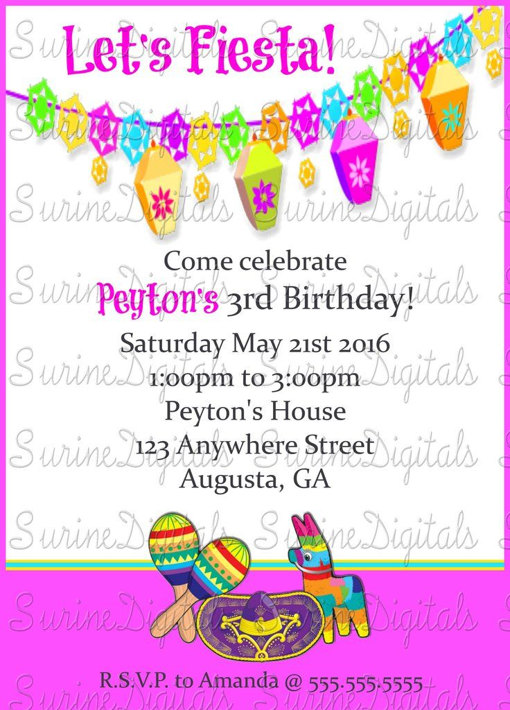 Girls Party Invitation Spanish Themed