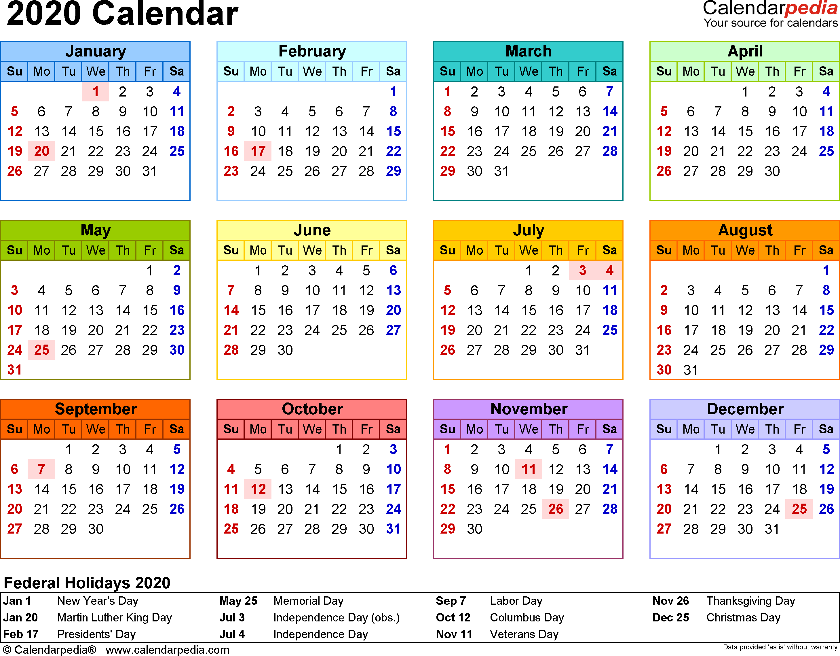 Template 8 2020 Calendar For Word Year At A Glance 1 Page In Color L Calendar 2019 Printable Free Printable Calendar Templates Printable Calendar Template