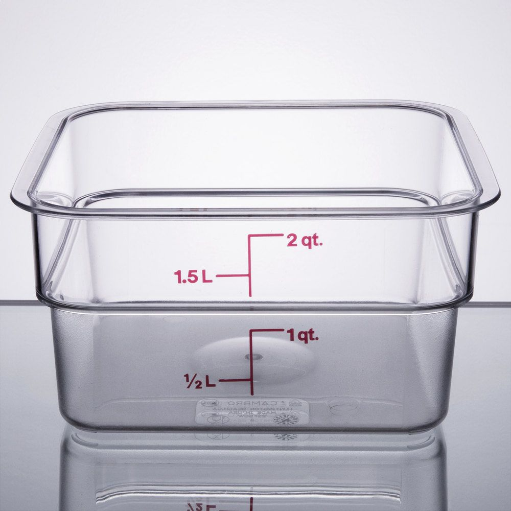 Cambro 2SFSCW135 2 Qt Clear Square Polycarbonate Food Storage