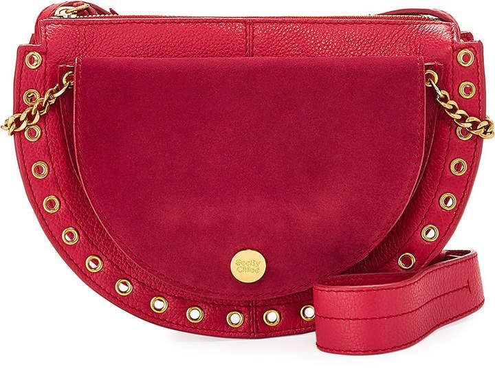 See by Chloe Kriss Mixed Leather Grommet Shoulder Bag #seebychloe