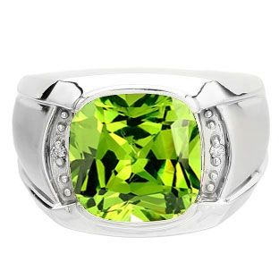 Big Mens Diamond Cushion Cut Peridot Sterling Silver Ring