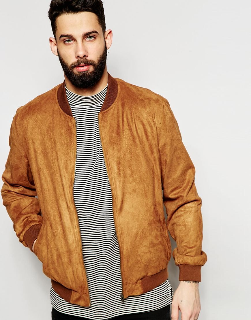 449084dad52e Image 1 of ASOS Faux Suede Bomber Jacket in Tan